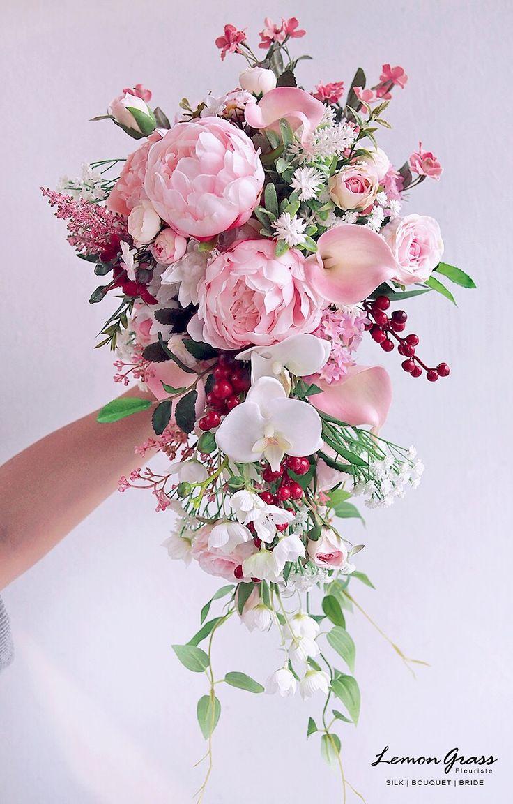 123 best Silk flower waterfall bouquet images on Pinterest | Bridal ...