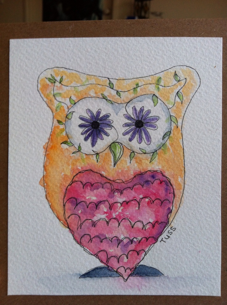 #owl #watercolour #fineliner #drawing #cards #homemade