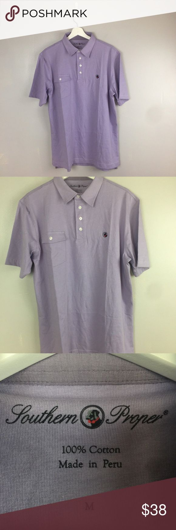 """SOUTHERN PROPER Medium Purple Polo Shirt #A1028 Southern Proper Medium Lavender Purple Tourney Pocket Polo Shirt NEW NWOT  approx. meas.   pit to pit 22.5"""" length 28"""" Southern Proper Dresses"""