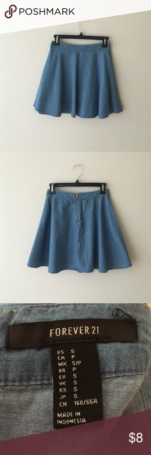 Blue Denim Skater Skirt light blue, silver zipper goes 1/3 down back, goes a little past mid thigh, thin denim material, no flaws, been sitting in my closet for awhile now! worn once for a photo shoot Forever 21 Skirts Circle & Skater