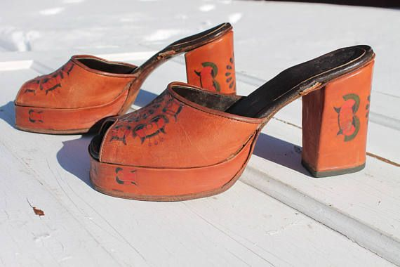 ~ high heel sandals ~ slip on (originally had ankle straps, but were unable to be repaired and thus were removed) ~ floral stamped design throughout ~ platform toe ~ maker unknown ~ very good condition  ::measurements:: heel height: 3.5 (9 cm) foot bed length: 9.5 (24 cm) foot bed width (at