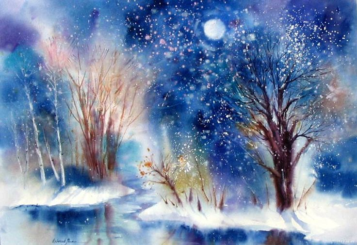 "Quote artist by Deborah Swan-McDonald....""This is a watercolor I painted of a winter wonderland fantasy."""