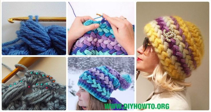 Crochet Braid Puff Stitch Slouch Hat Free Pattern [Video Instruction]