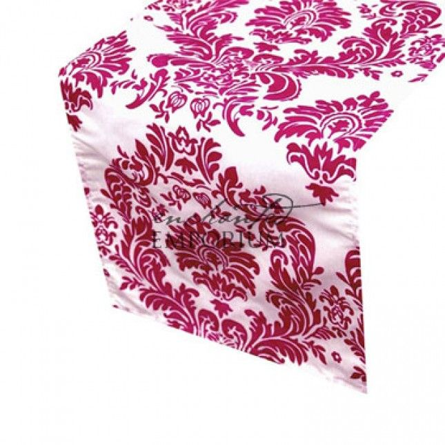 Pink and White Damask Table Runner, Enchanted Emporium Event Hire