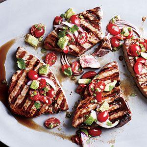 Seared Tuna with Avocado Salsa | MyRecipes.com #myplate #protein #veggies