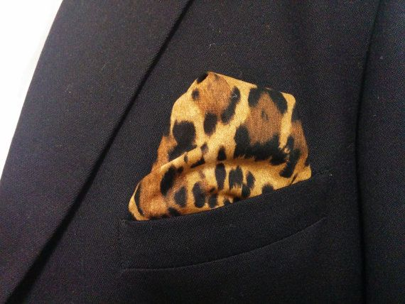 LEOPARD POCKET SQUARE - Hanky, Black Tan Brown Animal Print, Leopard Wedding, Men, Leopard pocket square, suit hanky, 10