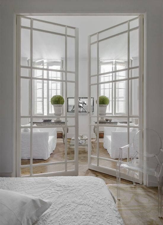 Beautiful White On White Bedroom & Living Room Design With Gorgeous Doors