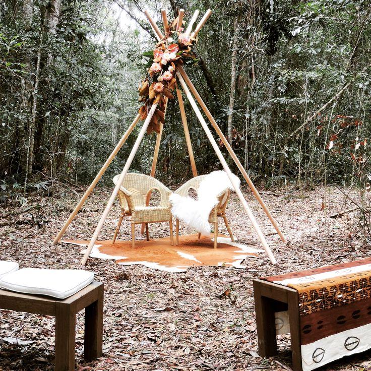 Wild  Boho Wedding teepee by Port Douglas Wedding Arches
