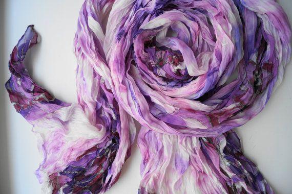 Hand Painted Silk Scarf, Handpainted Silk Scarf, Hand Painted Silk Shawl, Lilac Burgundy Silk Scarf, Hand Dyed Silk Scarf, Unique Silk Scarf