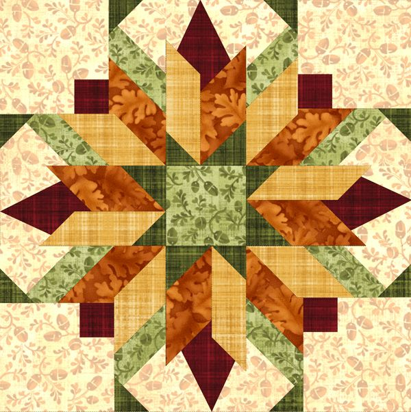 """Bursting Buds 18"""" Seasonal, pattern sold on Pam's Club. An advanced beginner could make this beautiful block because the graphics are excellent, taking you step-by-step. Watching our Angler 2 technique videos help too. We offer four different seasons in this 18"""" block: Summer, Fall, Winter/Holiday, and Spring."""