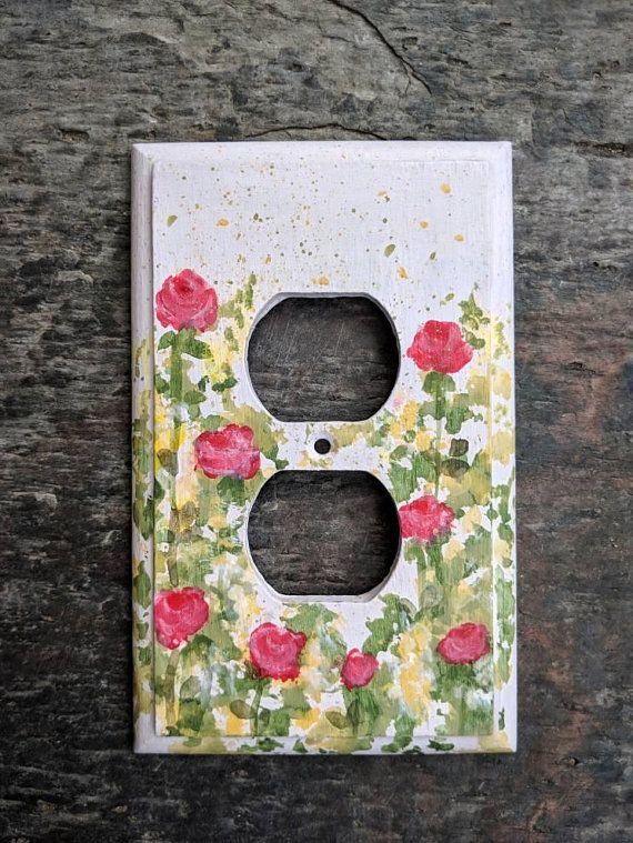 Switch plate,switch cover,flower print,wall decor,decorative switch cover,navy,fabric cover