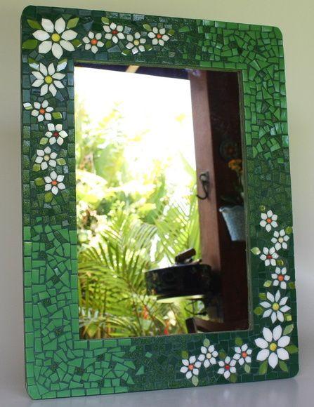 Moldura Espelho em mosaico floral verde
