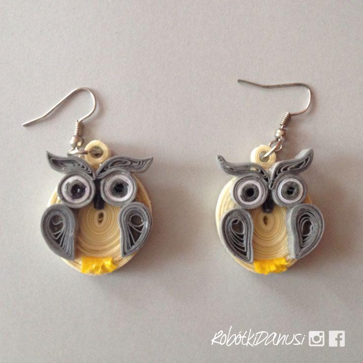 Kolczyki sówki z papieru. #quilling #ilovepaperbeads #jewelry #earrings #papier #kolczyki #DIY #handmade