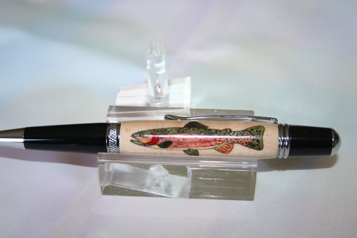 Handcrafted Wooden Pen - Cutthroat Trout Inlay Pen in a Bright Chrome Finish by Witmer Enterprises, $55.00 at witmerenterprises.com and also @Etsy