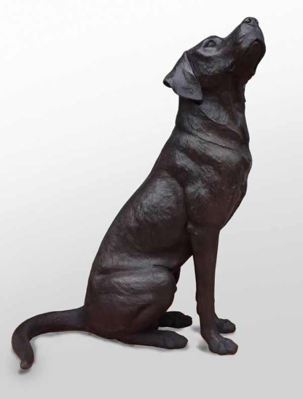 By David Cemmick Titled: U0027Faithful Friend Labrador (Bronze Life Size Black  Dog Sculptures/statue)u0027.