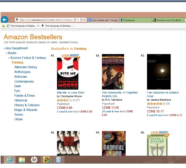 Made Amazon.ca's Bestseller list. All the way up to #63. :D