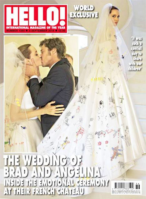 Angelina Jolie's wedding dress featured colorful drawings and designs drawn by her kids!