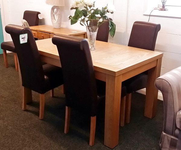 NEW Quality Zone Furniture Breeze Light Oak Dining Table With 4 Leather Chairs RRP
