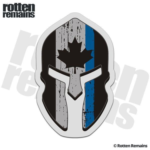Canada Flag Thin Blue Line Spartan Helmet Decal Canadian Police Sticker