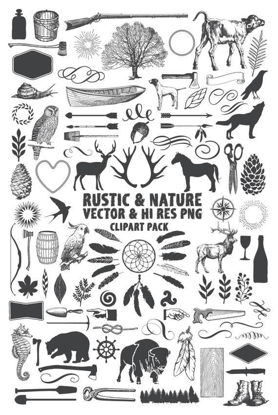 Rustic Clipart Pack Hunting Lumberjack Nature Camping Etsy Nature Art Prints Art Clip Art