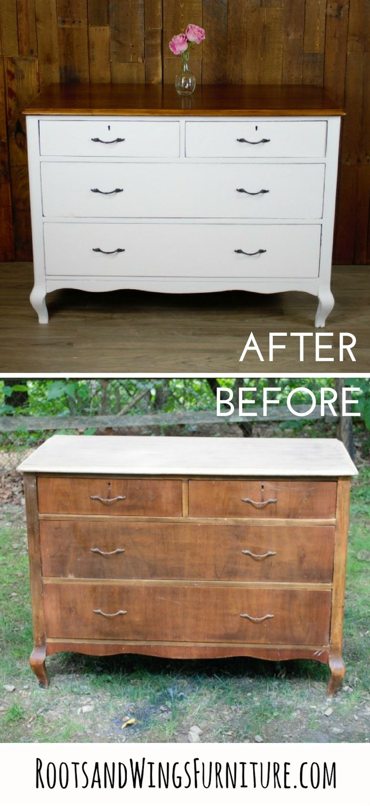 A classic makeover in General Finishes Snow White Milk Paint.  This  dresser has been completely transformed and is ready for it's new life  as a bathroom vanity.