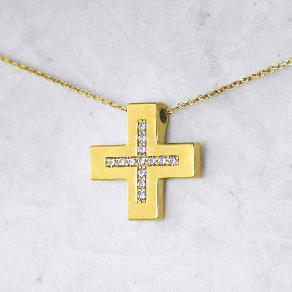 Tiny Square Diamond Solid Gold Cross Pendant 14-karat Gold