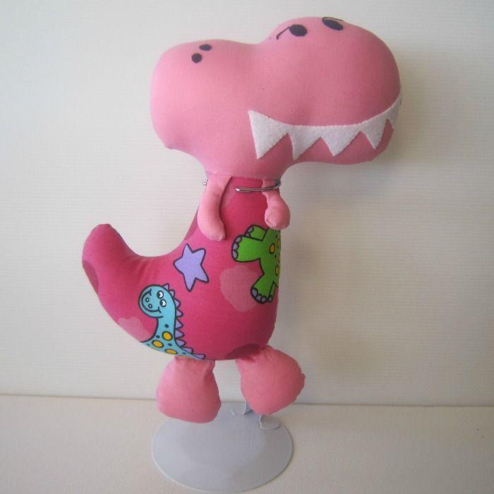 Pink Girl Fabric Dinosaur Softie | Chelle Belle | madeit.com.au