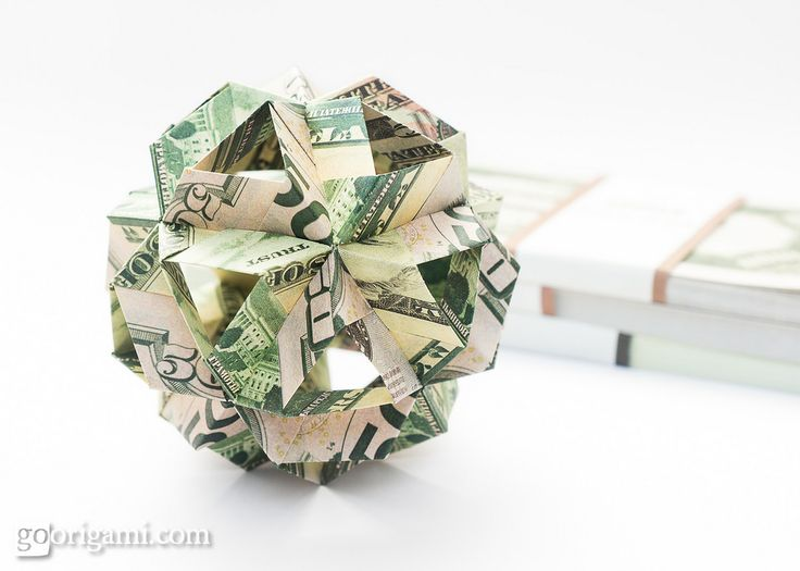 https://flic.kr/p/V5V2A4 | Skella Beta Kusudama | Skella Beta Kusudama (Maria Sinayskaya)  Folded from fake dollar bills (I've got heaps of those! Those fake ones.) The tutorial is published by Sara Adams of happyfolding.com. Also, do check out her latest giveaways! There are 9 of them already and number 7 features my own book, Zen Origami — 5 copies, guys, 5 copies!!! (Real ones, not fake.)  There is also a tutorial for a different variation of this model — Skella Gamma,  presented by…