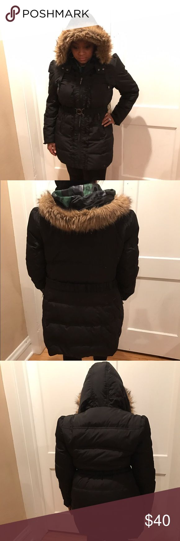 Womens puffer coat by Mac & Jac Black women's puffer coat size Large. Zip up front enhanced with ruffles. Attached hood with faux fur.  Very warm and in excellent condition. mac & jac Jackets & Coats Puffers