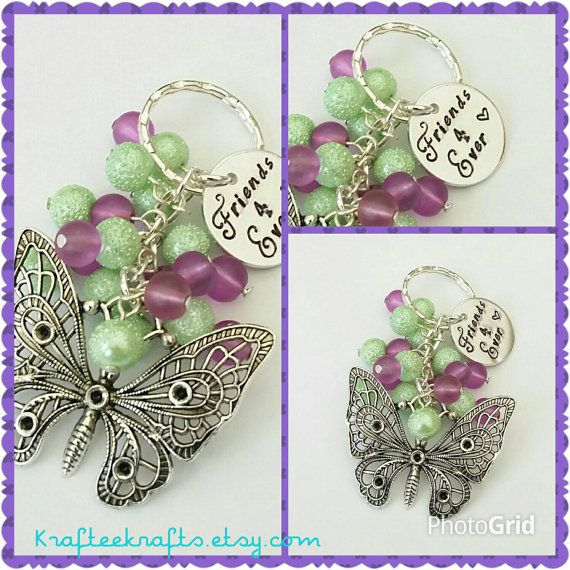 Friends 4 Ever butterfly keyring, hand-stamped, beaded keychain, family gifts, inspirational quotes, Mother's day gifts, gifts for mums