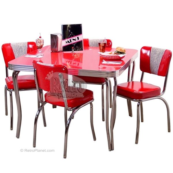 Retro dinette set red pinterest for Kitchen set vintage