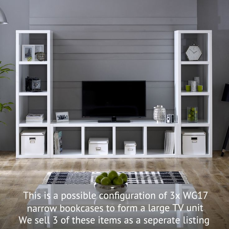 White High Gloss 4 Square Tall Narrow Bookcase