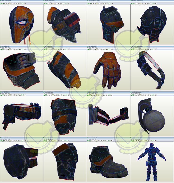DeathStroke Costume Template / Pattern Pepakura 3D Model