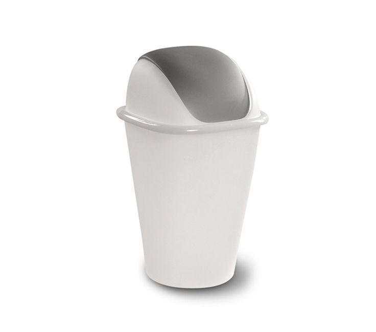 KIS Pattumiera basculante Swing bianco-grigio 20-30 litri      Pattumiera basculante Swing Bin comoda e capiente per tutti gli ambienti di servizio: il coperchio removibile con facilità la rendono ideale per lo smaltimento di tutti i tipi di rifiuti.