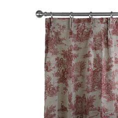 Joli rideau en lin naturel muni d'une très belle impression aspect toile de Jouy aux motifs pastorales rouge pour une association de noblesse et d'élégance. Finition oeillets, nouettes, ruflette ou plis flamands.