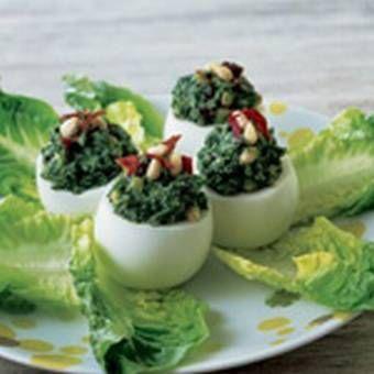 Huevos duros rellenos de espinacas - Las Recetas de Marmiton: Pagina de la receta