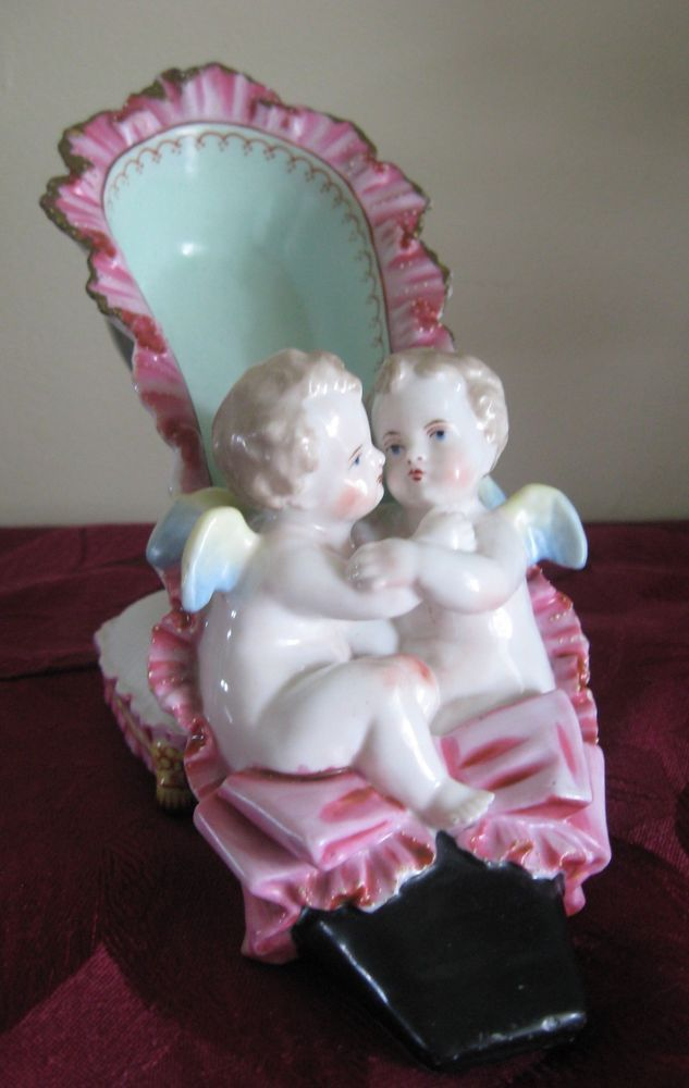 Hugging Angels Cherubs Antique Porcelain Shoe Bow Ruffle