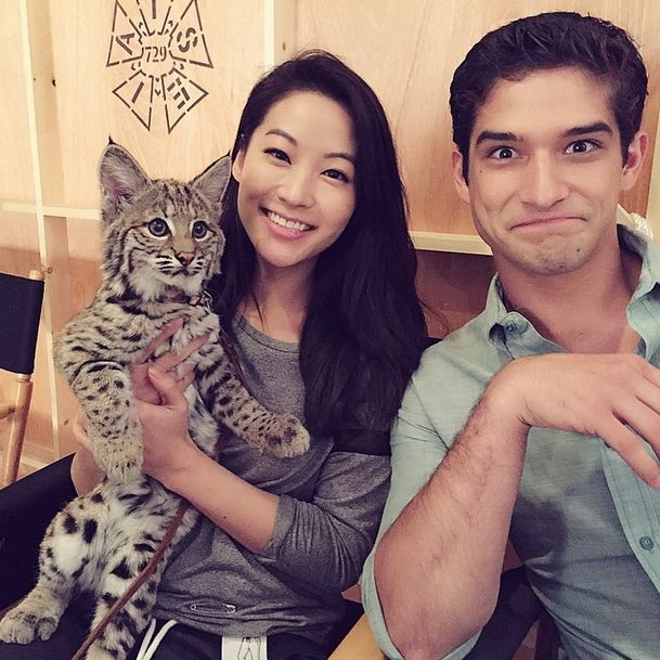 The Fox, The Wolf &…The Bobcat! Arden Cho and Tyler Posey chillin' with a bobcat on the set of Teen Wolf Season 5!
