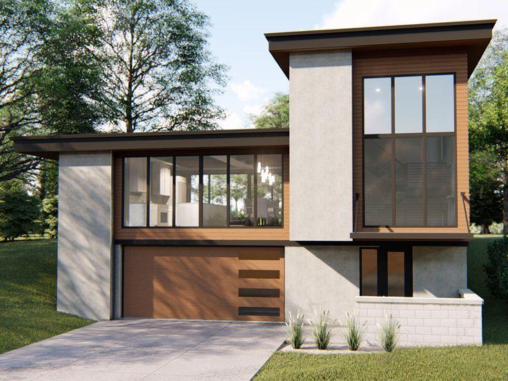 050h 0169 Unique Modern House Plan With Drive Under Garage 2682