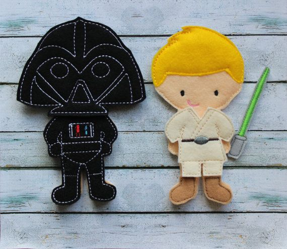 Star Wars felt dolls--Luke Skywalker abd Darth Vader--great for church, cars, or quiet play