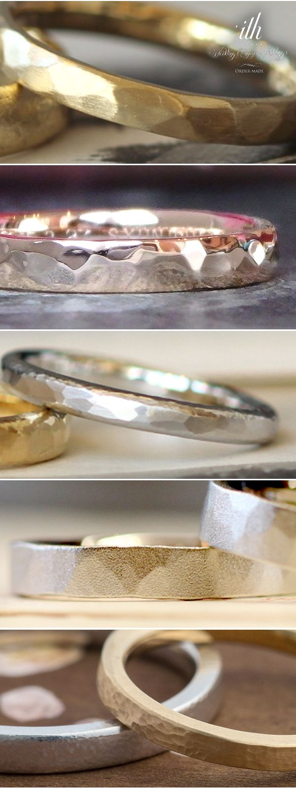 リングの表面に金槌で模様をつける技法「槌目」 槌の大きさや種類によって様々な表情に。手仕事ならではの技術でつくるオリジナルマリッジリング。 つくり手が一打一打 丁寧に仕上げる槌目のリングです。  marriage ring, wedding, ウエディング,結婚指輪,Gold,ゴールド,手作り,オーダーメイド