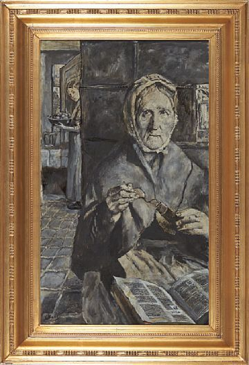 "CHRISTIAN KROGH VESTRE AKER 1852 - OSLO 1925  ""Old Wife""  Oil on canvas, 92x55 cm  Signed lower left: C Krogh  The design stems from Christian Krohg first Skagen stay in 1879"