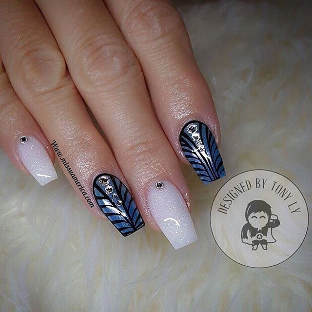 Custom nails design ❤️💎😍🤓 Pro Gel & White Glitter Acrylic  SHOP NOW  Www.missuamerica.com