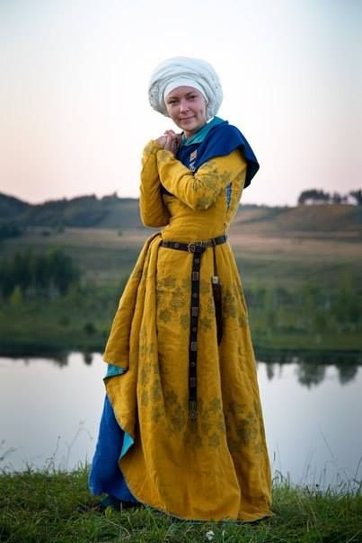 Set Eleven - women 15th century - long shirt - linen - women hose - woolen - under dress - linen - cottehardie/outer dress, woolen with linen linning, strings or buttons - cloak from a half of the circle  https://www.facebook.com/noble.craftandhistory