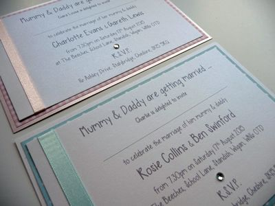 Baby Pink Or Blue Mummy And Daddy Getting Married Invitations
