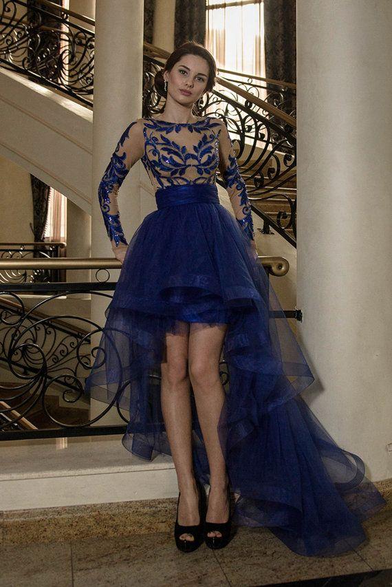 Romantisches königsblaue Kleid mit Blätter, blaue Mutter der Braut Kleid, kurzes Abendkleid mit Blüten, Sexy Hallo niedrige Kleid in Marineblau