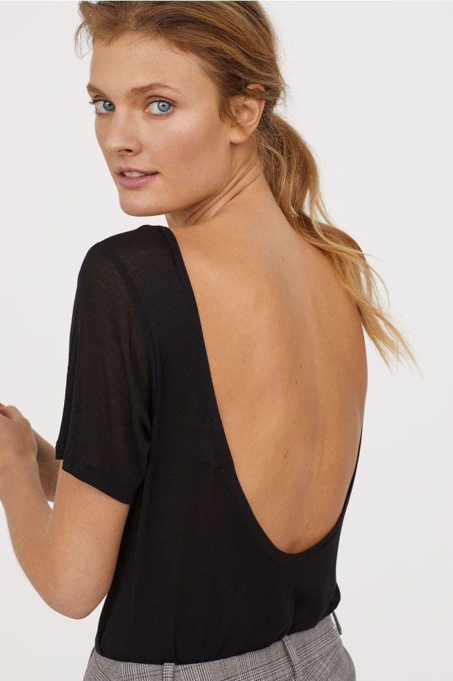 Top avec encolure dans le dos - Noir - FEMME | H&M FR 1