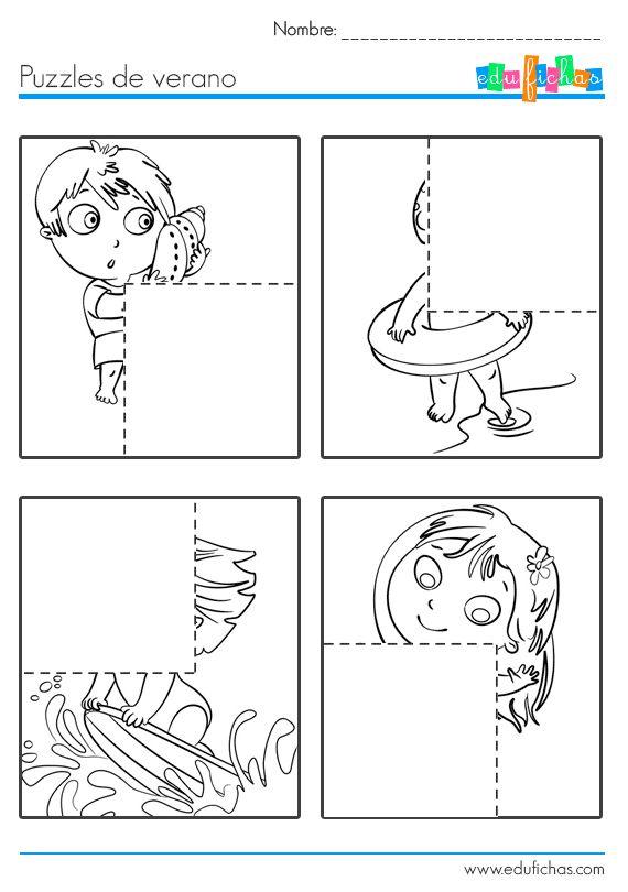puzzle recortable hoja 1  Para niños  http://www.edufichas.com/pasatiempos-para-ninos/puzzle-recortable-para-ninos/  #niños #pasariempos #infantil