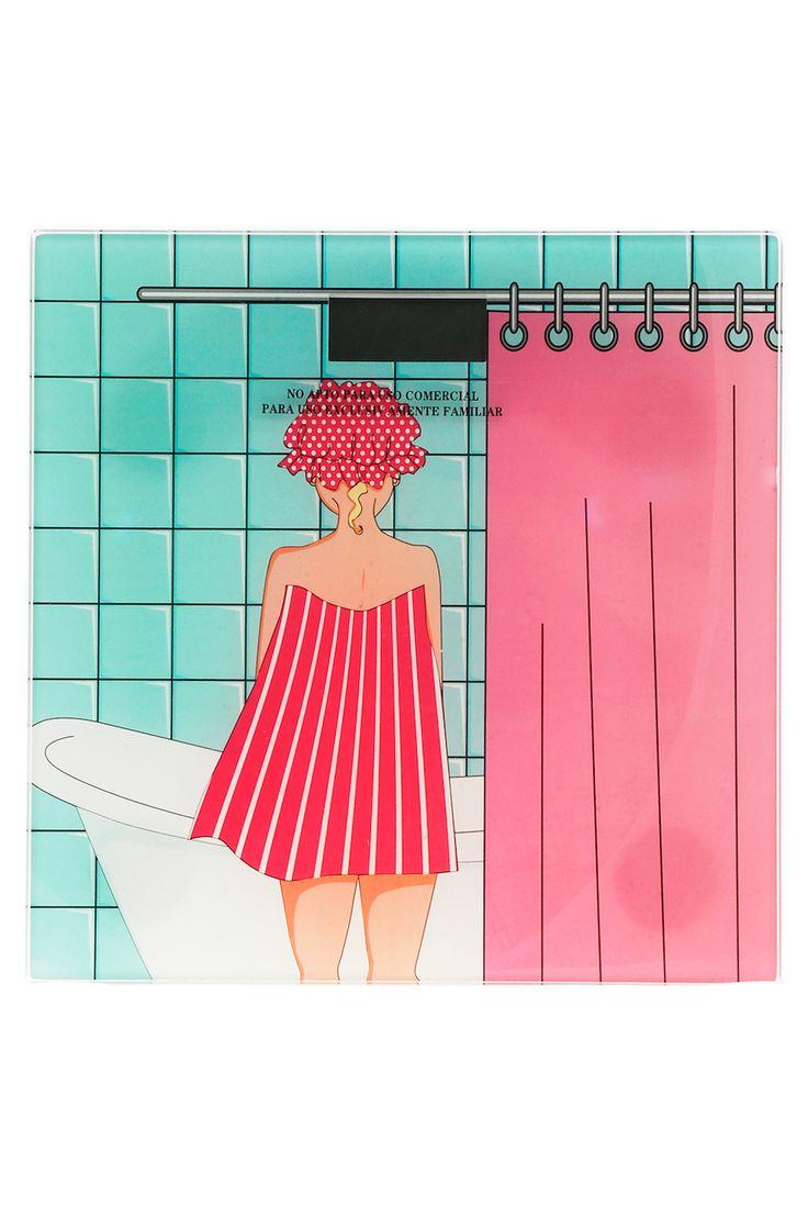 Balanza de baño de vidrio con estampa de mujer saliendo de la ducha. Capacidad de peso 2.5 - 150/180kg. Display LCD de 4 dígitos. Medidas: 28cm x 28cm