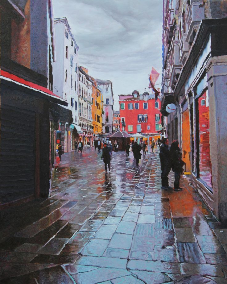 Campo San Bartolomeo Urban landscape oil painting by Kenneth Young www.kenyoungfineart.com
